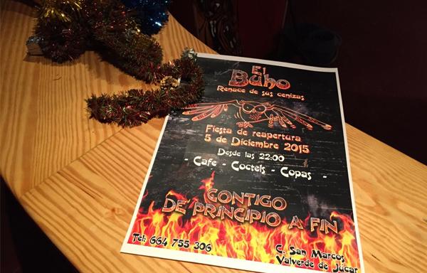 Cartel de reapertura de el Bar El Buho