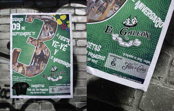 Cartel 3ª fiesta Ye-Yé y 3er aniversario en el Galeón
