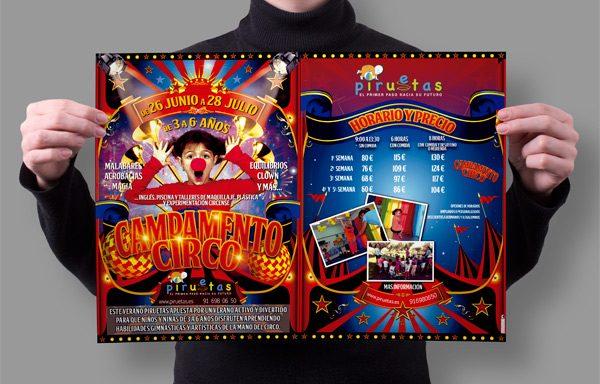 Poster Campamento Circo  Escuela infantil Piruetas